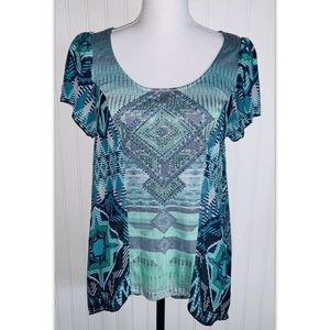 One World Size Small S Top Blue Green Blouse Shirt